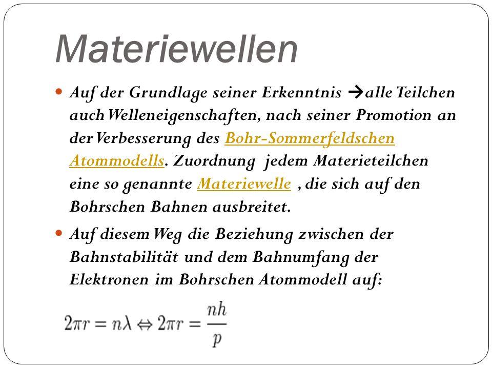 Materiewellen Auf der Grundlage seiner Erkenntnis alle Teilchen auch Welleneigenschaften, nach seiner Promotion an der Verbesserung des Bohr-Sommerfel
