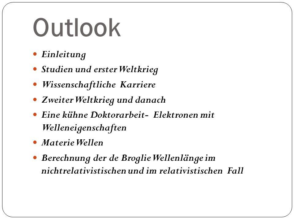 Outlook Einleitung Studien und erster Weltkrieg Wissenschaftliche Karriere Zweiter Weltkrieg und danach Eine kühne Doktorarbeit- Elektronen mit Wellen