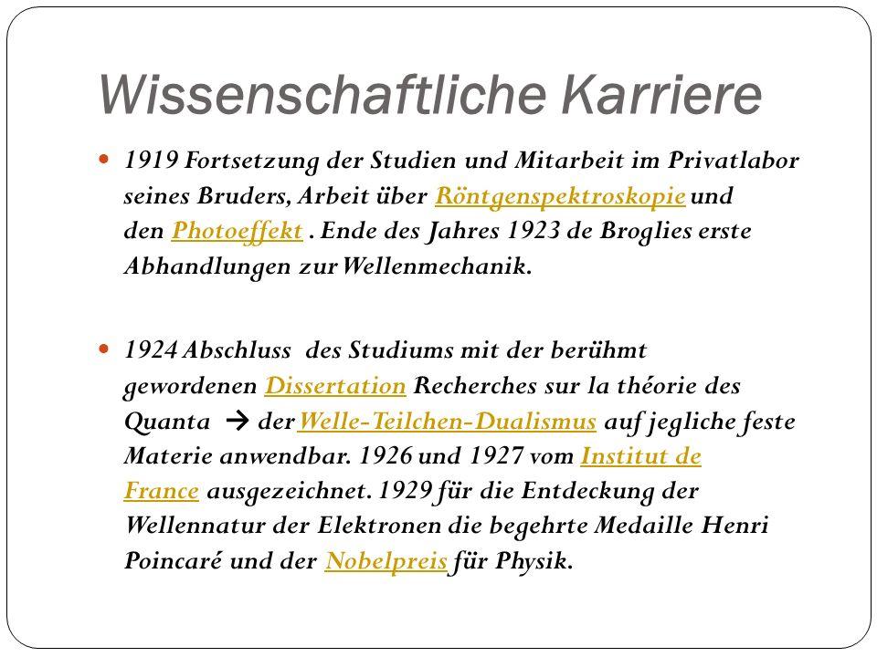 Wissenschaftliche Karriere 1919 Fortsetzung der Studien und Mitarbeit im Privatlabor seines Bruders, Arbeit über Röntgenspektroskopie und den Photoeff