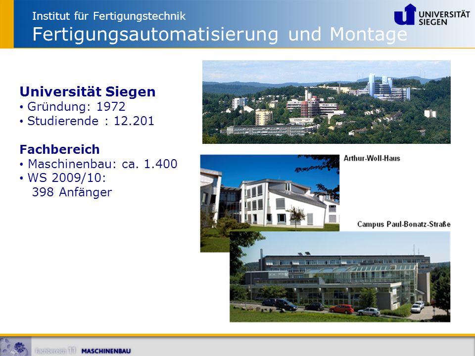 Institut für Fertigungstechnik Fertigungsautomatisierung und Montage Universität Siegen Gründung: 1972 Studierende : 12.201 Fachbereich Maschinenbau: ca.