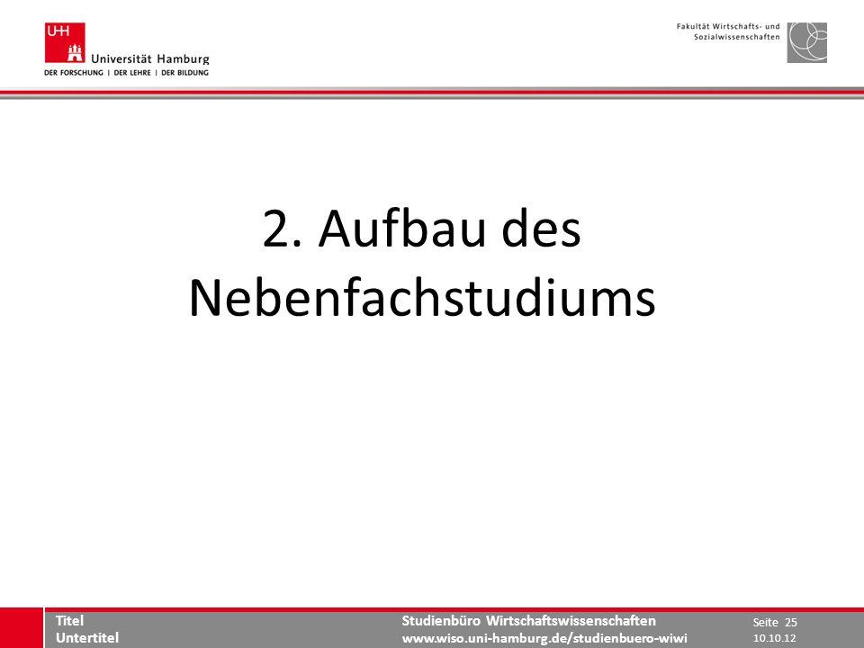 Studienbüro Wirtschaftswissenschaften www.wiso.uni-hamburg.de/studienbuero-wiwi 2. Aufbau des Nebenfachstudiums Seite 25 Titel Untertitel 10.10.12