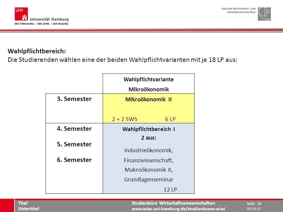 Studienbüro Wirtschaftswissenschaften www.wiso.uni-hamburg.de/studienbuero-wiwi Wahlpflichtbereich: Die Studierenden wählen eine der beiden Wahlpflich