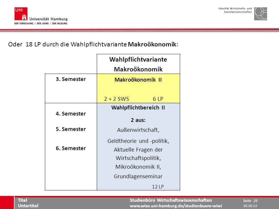 Studienbüro Wirtschaftswissenschaften www.wiso.uni-hamburg.de/studienbuero-wiwi Oder 18 LP durch die Wahlpflichtvariante Makroökonomik: Seite 29 Titel