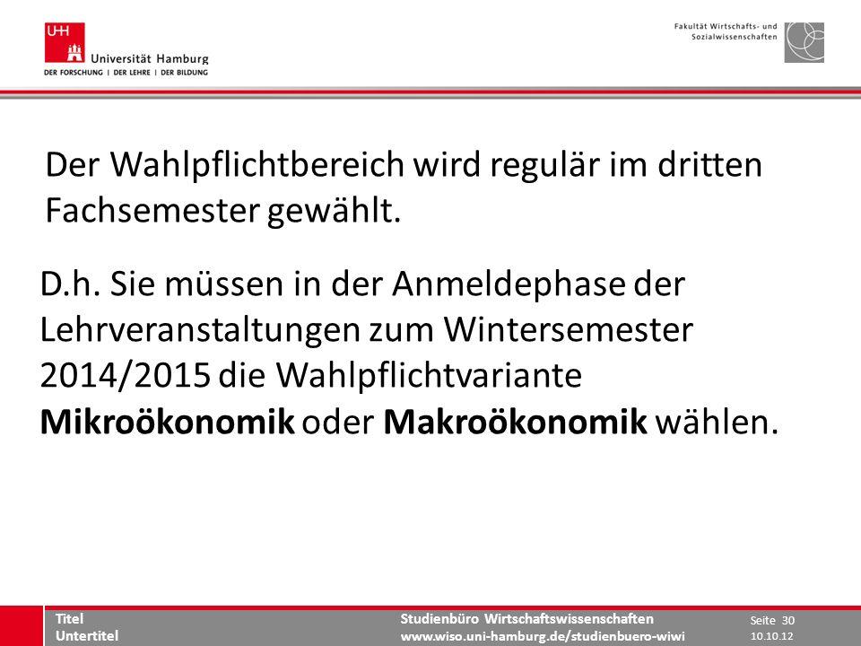 Studienbüro Wirtschaftswissenschaften www.wiso.uni-hamburg.de/studienbuero-wiwi Der Wahlpflichtbereich wird regulär im dritten Fachsemester gewählt. D