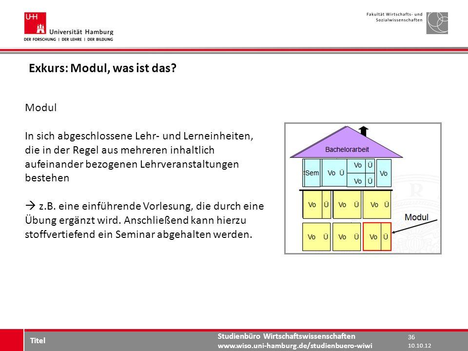 Studienbüro Wirtschaftswissenschaften www.wiso.uni-hamburg.de/studienbuero-wiwi Exkurs: Modul, was ist das? Modul In sich abgeschlossene Lehr- und Ler