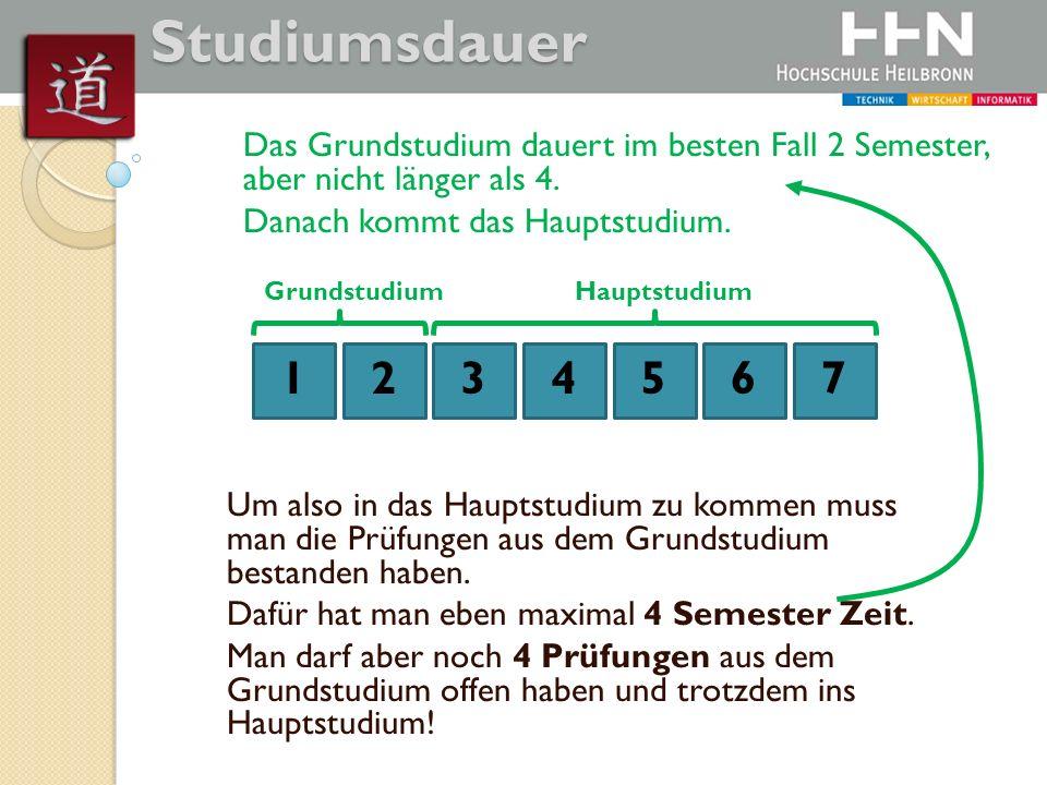 1234567 GrundstudiumHauptstudium Das Grundstudium dauert im besten Fall 2 Semester, aber nicht länger als 4. Danach kommt das Hauptstudium. Um also in