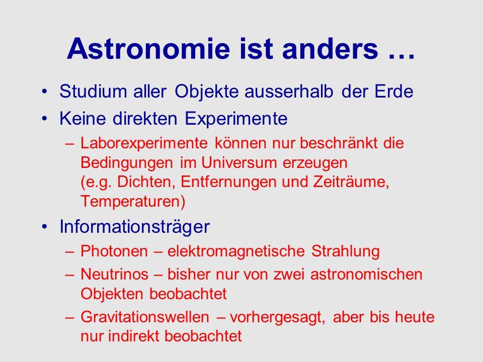Astronomie ist anders … Studium aller Objekte ausserhalb der Erde Keine direkten Experimente –Laborexperimente können nur beschränkt die Bedingungen i