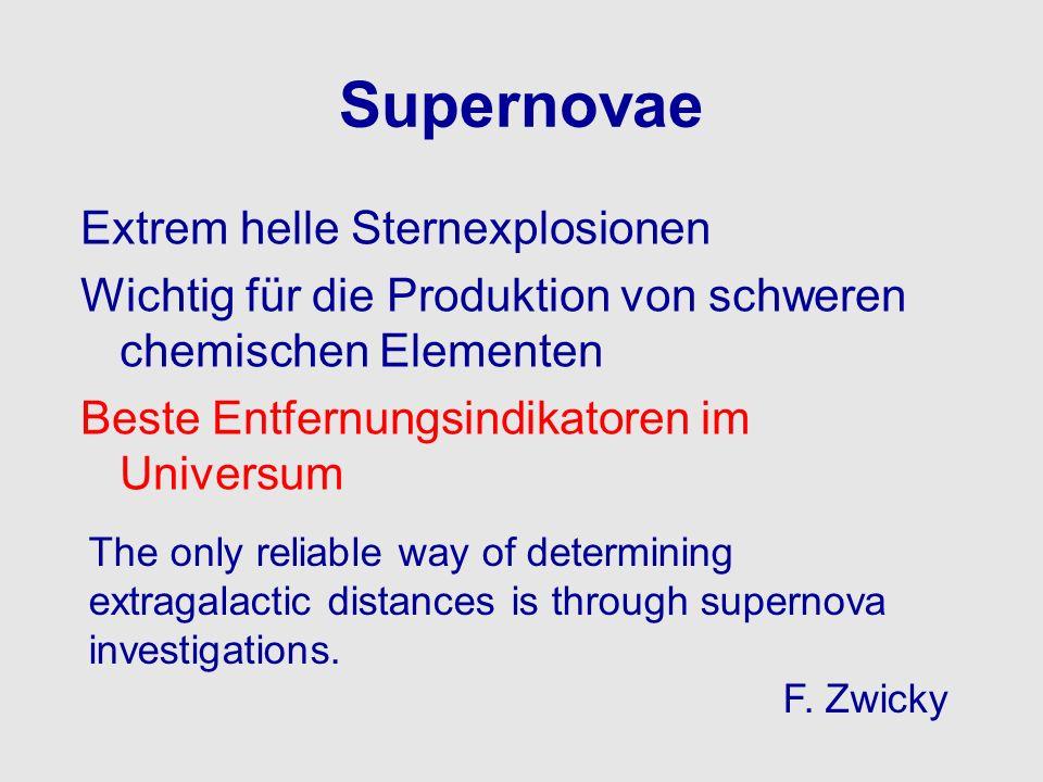 Supernovae Extrem helle Sternexplosionen Wichtig für die Produktion von schweren chemischen Elementen Beste Entfernungsindikatoren im Universum The on
