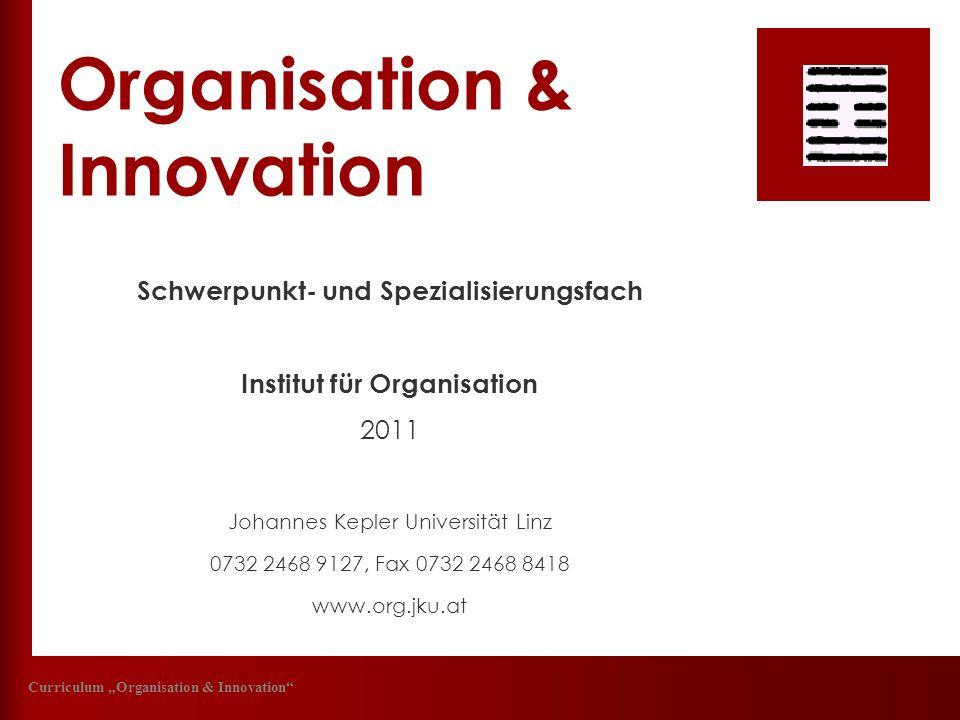 Organisation & Innovation Schwerpunkt- und Spezialisierungsfach Institut für Organisation 2011 Johannes Kepler Universität Linz 0732 2468 9127, Fax 07