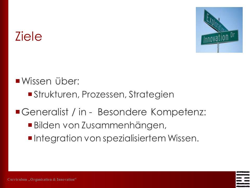 Ziele Wissen über: Strukturen, Prozessen, Strategien Generalist / in - Besondere Kompetenz: Bilden von Zusammenhängen, Integration von spezialisiertem