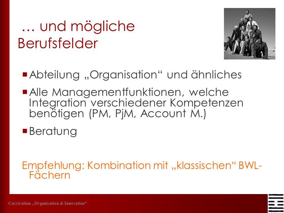 … und mögliche Berufsfelder Abteilung Organisation und ähnliches Alle Managementfunktionen, welche Integration verschiedener Kompetenzen benötigen (PM