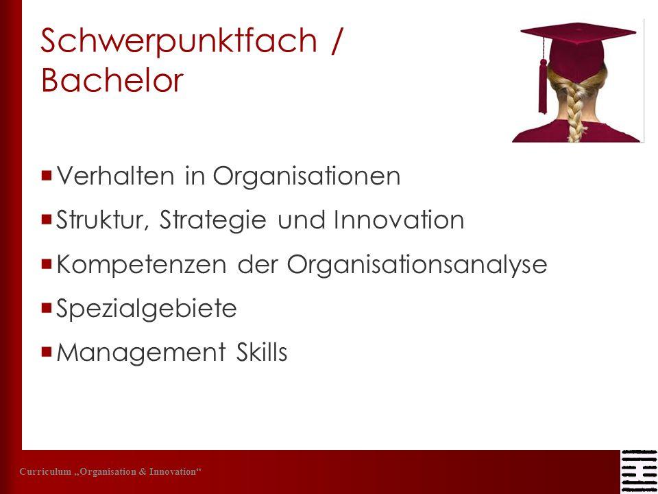 Schwerpunktfach / Bachelor Verhalten in Organisationen Struktur, Strategie und Innovation Kompetenzen der Organisationsanalyse Spezialgebiete Manageme