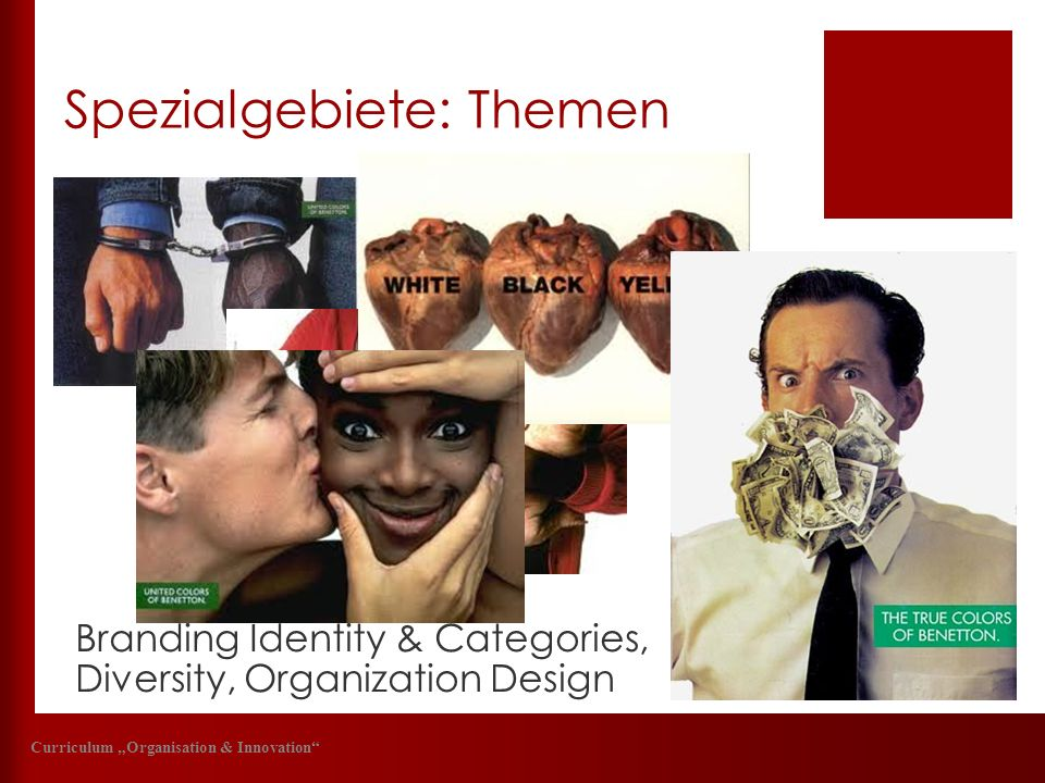Spezialgebiete: Themen Curriculum Organisation & Innovation Branding Identity & Categories, Diversity, Organization Design