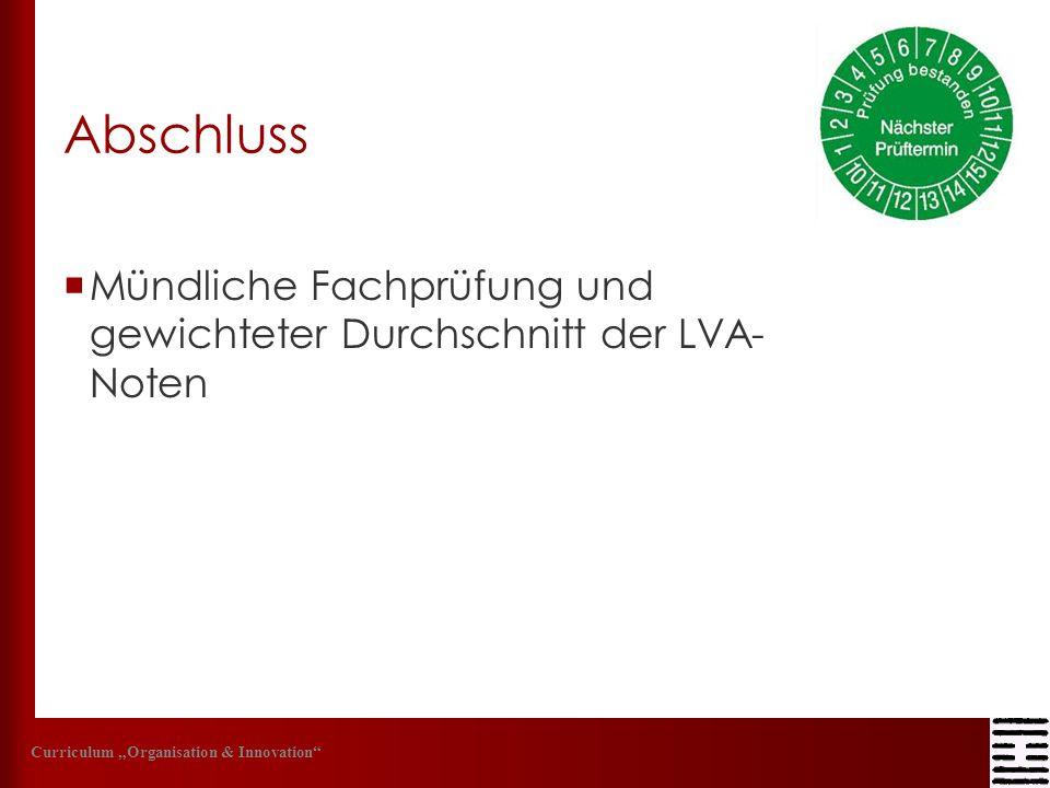 Abschluss Mündliche Fachprüfung und gewichteter Durchschnitt der LVA- Noten Curriculum Organisation & Innovation