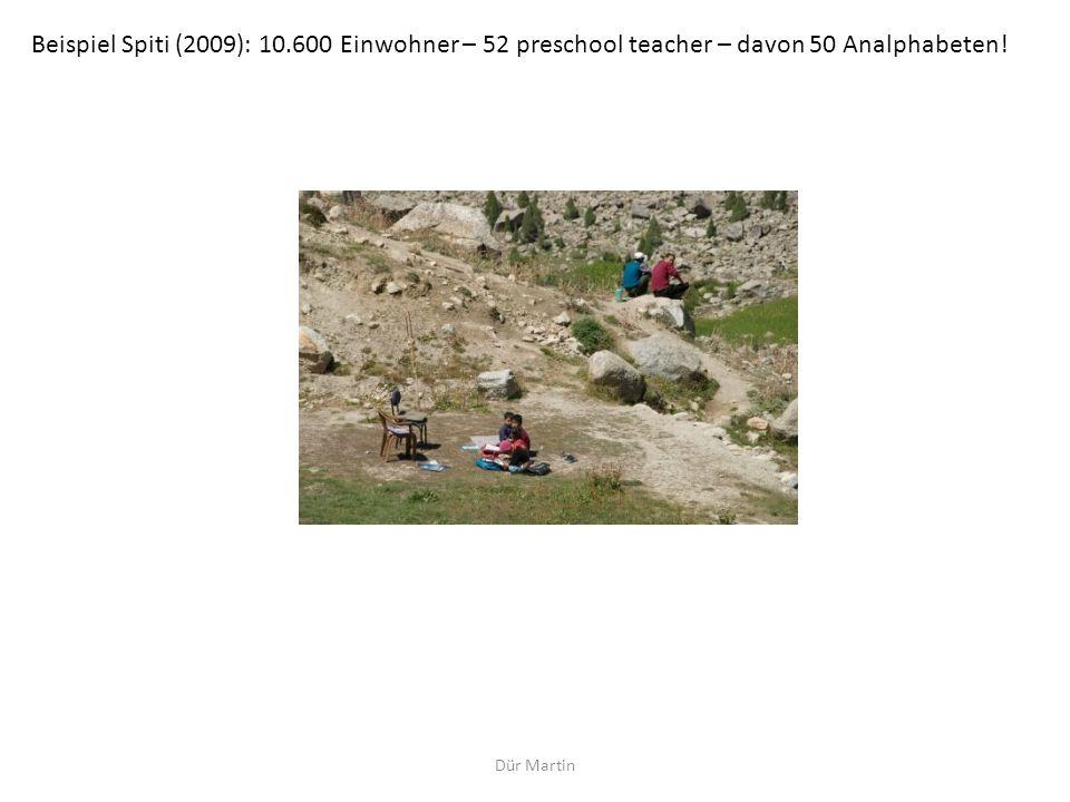 Dür Martin Beispiel Spiti (2009): 10.600 Einwohner – 52 preschool teacher – davon 50 Analphabeten!