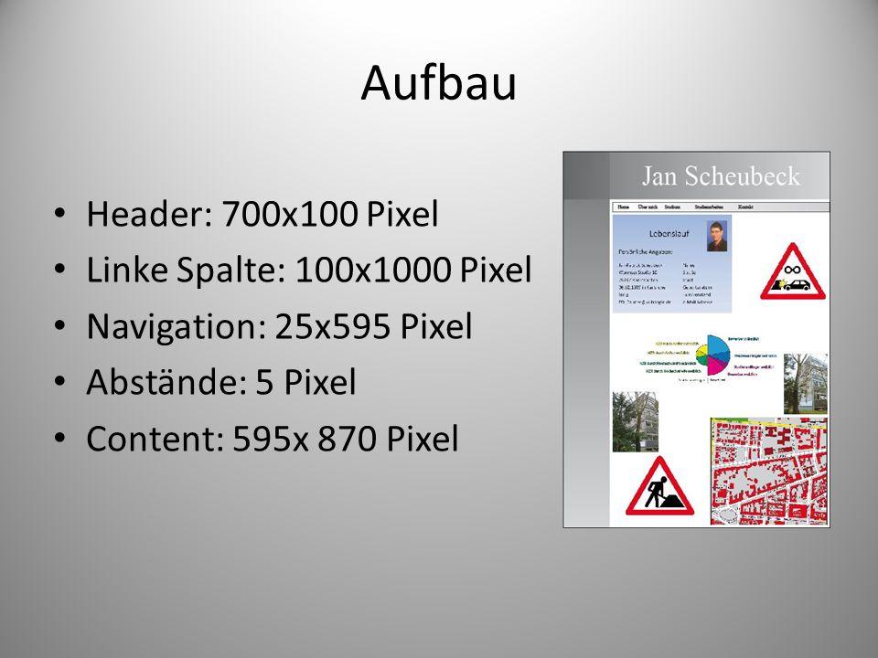 Aufbau Header: 700x100 Pixel Linke Spalte: 100x1000 Pixel Navigation: 25x595 Pixel Abstände: 5 Pixel Content: 595x 870 Pixel