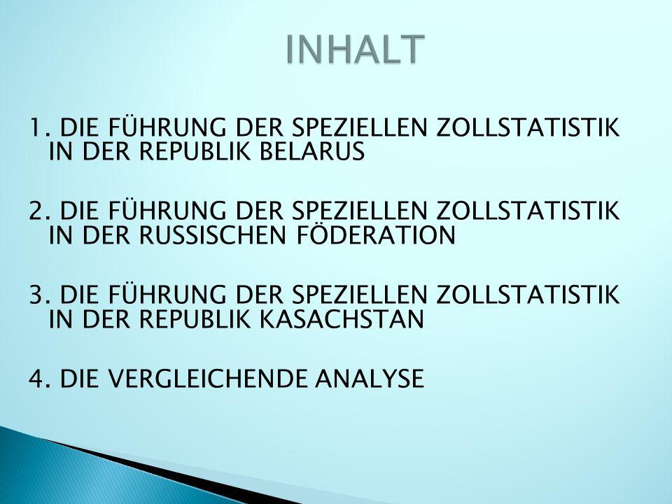 1. DIE FÜHRUNG DER SPEZIELLEN ZOLLSTATISTIK IN DER REPUBLIK BELARUS 2.