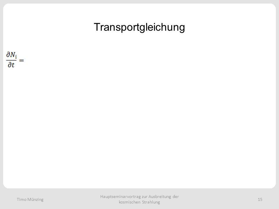 Hauptseminarvortrag zur Ausbreitung der kosmischen Strahlung 15 Transportgleichung Timo Münzing