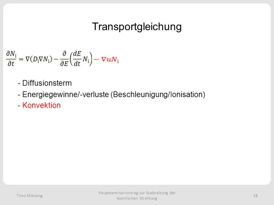 Hauptseminarvortrag zur Ausbreitung der kosmischen Strahlung 18 Transportgleichung - Diffusionsterm - Energiegewinne/-verluste (Beschleunigung/Ionisation) - Konvektion Timo Münzing