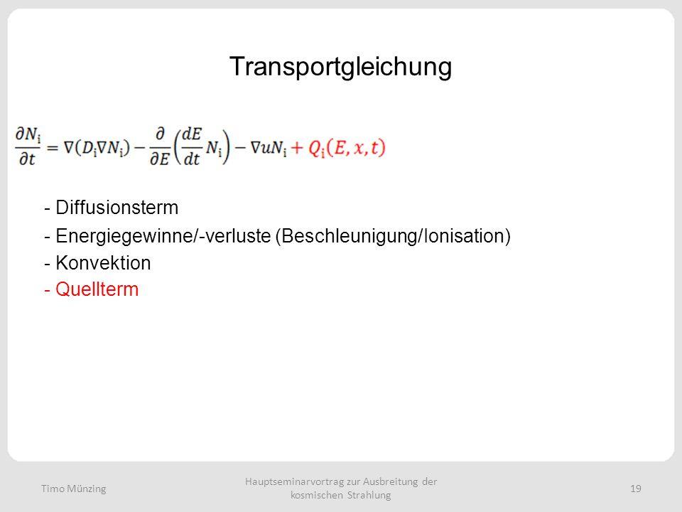 Hauptseminarvortrag zur Ausbreitung der kosmischen Strahlung 19 Transportgleichung - Diffusionsterm - Energiegewinne/-verluste (Beschleunigung/Ionisation) - Konvektion - Quellterm Timo Münzing