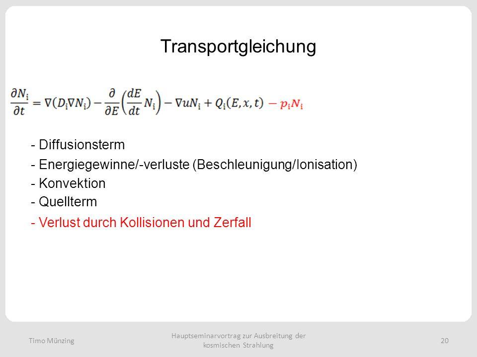 Hauptseminarvortrag zur Ausbreitung der kosmischen Strahlung 20 Transportgleichung - Diffusionsterm - Energiegewinne/-verluste (Beschleunigung/Ionisat