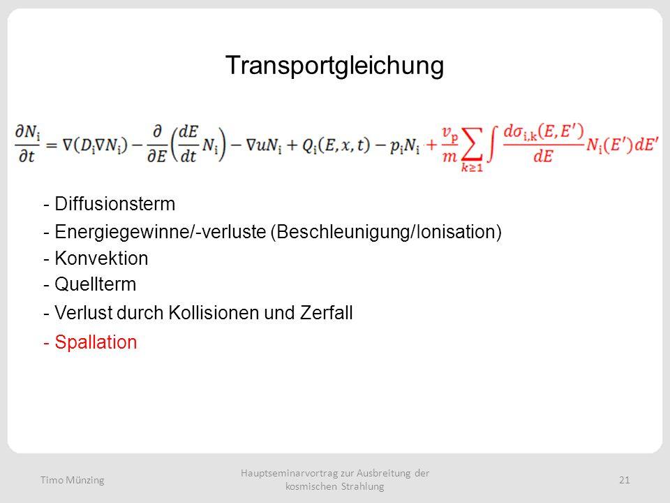 Hauptseminarvortrag zur Ausbreitung der kosmischen Strahlung 21 Transportgleichung - Diffusionsterm - Energiegewinne/-verluste (Beschleunigung/Ionisation) - Konvektion - Quellterm - Verlust durch Kollisionen und Zerfall - Spallation Timo Münzing
