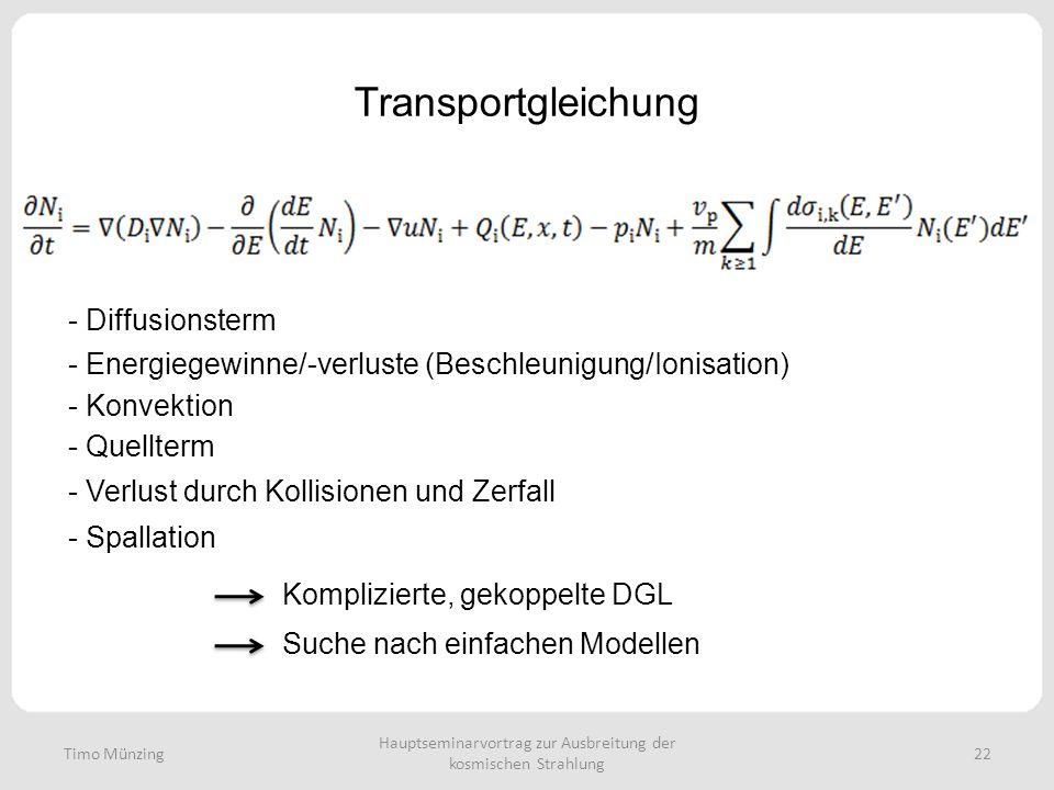 Hauptseminarvortrag zur Ausbreitung der kosmischen Strahlung 22 Transportgleichung - Diffusionsterm - Energiegewinne/-verluste (Beschleunigung/Ionisation) - Konvektion - Quellterm - Verlust durch Kollisionen und Zerfall - Spallation Komplizierte, gekoppelte DGL Suche nach einfachen Modellen Timo Münzing