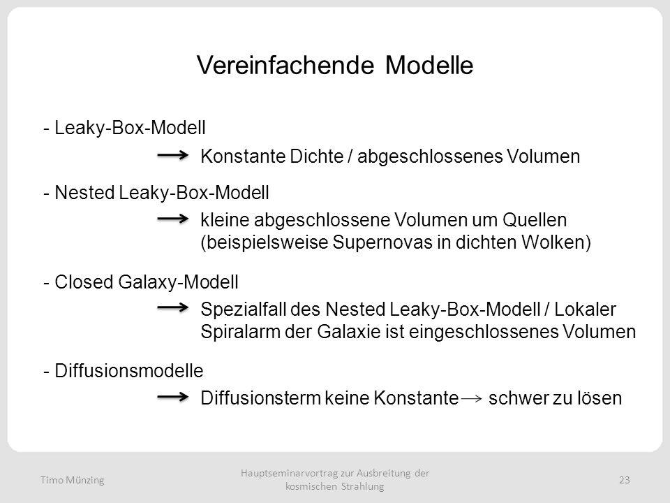 Hauptseminarvortrag zur Ausbreitung der kosmischen Strahlung 23 Vereinfachende Modelle - Leaky-Box-Modell - Nested Leaky-Box-Modell kleine abgeschlossene Volumen um Quellen (beispielsweise Supernovas in dichten Wolken) - Closed Galaxy-Modell Spezialfall des Nested Leaky-Box-Modell / Lokaler Spiralarm der Galaxie ist eingeschlossenes Volumen - Diffusionsmodelle Diffusionsterm keine Konstante schwer zu lösen Konstante Dichte / abgeschlossenes Volumen Timo Münzing