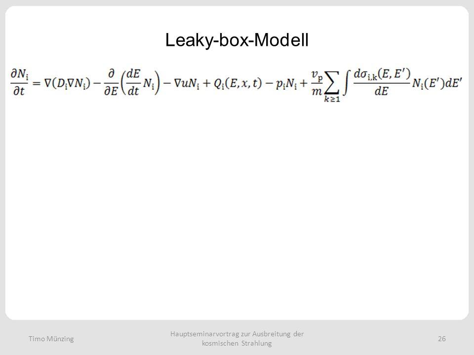 Hauptseminarvortrag zur Ausbreitung der kosmischen Strahlung 26 Leaky-box-Modell Timo Münzing