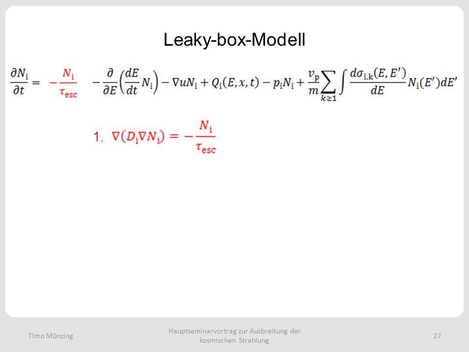 Hauptseminarvortrag zur Ausbreitung der kosmischen Strahlung 27 Leaky-box-Modell Timo Münzing 1.