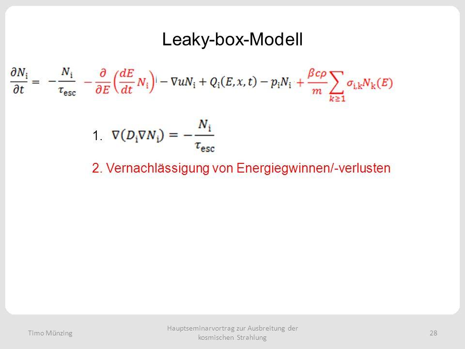 Hauptseminarvortrag zur Ausbreitung der kosmischen Strahlung 28 Leaky-box-Modell Timo Münzing 1. 2. Vernachlässigung von Energiegwinnen/-verlusten