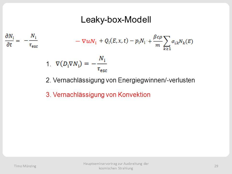 Hauptseminarvortrag zur Ausbreitung der kosmischen Strahlung 29 Leaky-box-Modell Timo Münzing 1. 2. Vernachlässigung von Energiegwinnen/-verlusten 3.
