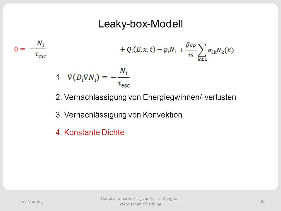 Hauptseminarvortrag zur Ausbreitung der kosmischen Strahlung 30 Leaky-box-Modell Timo Münzing 1. 2. Vernachlässigung von Energiegwinnen/-verlusten 3.