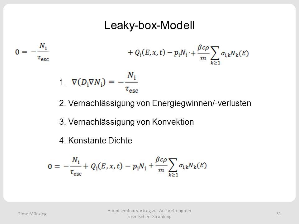 Hauptseminarvortrag zur Ausbreitung der kosmischen Strahlung 31 Leaky-box-Modell Timo Münzing 1. 2. Vernachlässigung von Energiegwinnen/-verlusten 3.