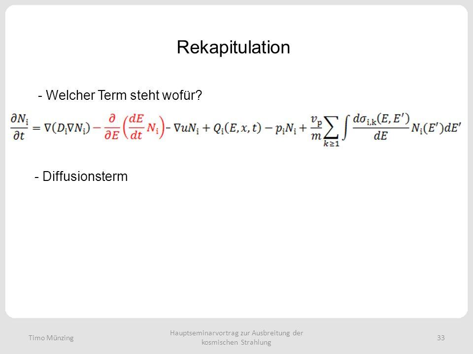 Hauptseminarvortrag zur Ausbreitung der kosmischen Strahlung 33 Rekapitulation Timo Münzing - Welcher Term steht wofür? - Diffusionsterm