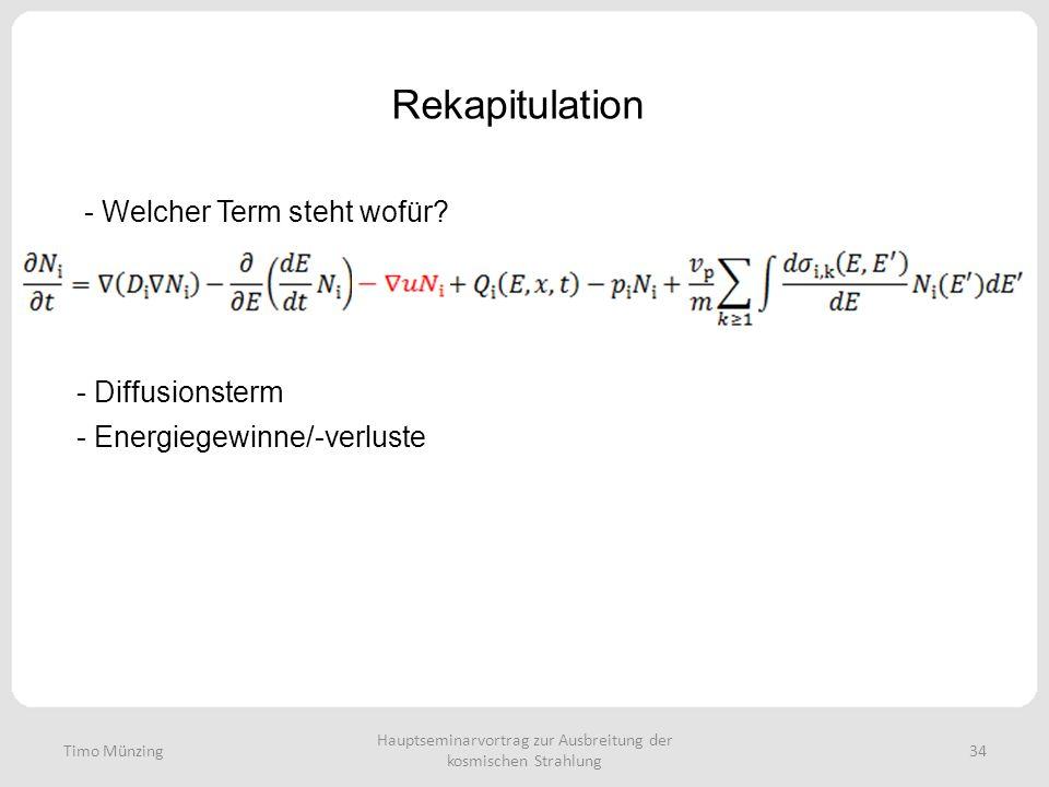 Hauptseminarvortrag zur Ausbreitung der kosmischen Strahlung 34 Rekapitulation Timo Münzing - Welcher Term steht wofür? - Diffusionsterm - Energiegewi