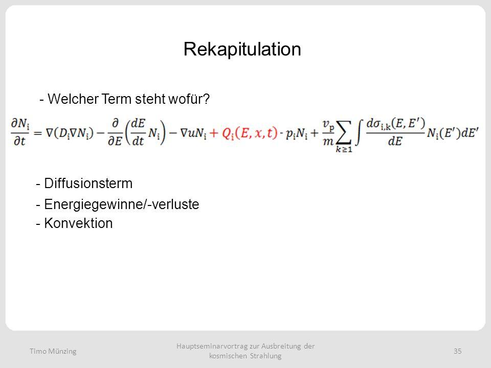 Hauptseminarvortrag zur Ausbreitung der kosmischen Strahlung 35 Rekapitulation Timo Münzing - Welcher Term steht wofür? - Diffusionsterm - Energiegewi