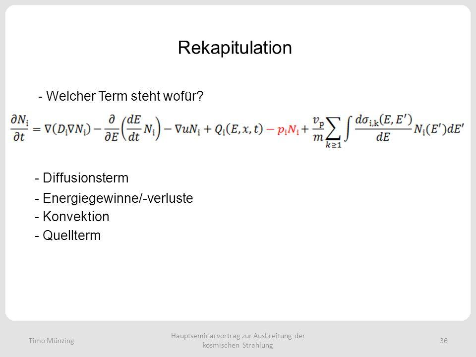 Hauptseminarvortrag zur Ausbreitung der kosmischen Strahlung 36 Rekapitulation Timo Münzing - Welcher Term steht wofür? - Diffusionsterm - Energiegewi