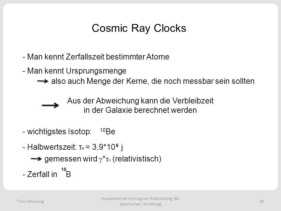 Hauptseminarvortrag zur Ausbreitung der kosmischen Strahlung 45 Cosmic Ray Clocks Timo Münzing - Man kennt Zerfallszeit bestimmter Atome - Man kennt Ursprungsmenge also auch Menge der Kerne, die noch messbar sein sollten Aus der Abweichung kann die Verbleibzeit in der Galaxie berechnet werden - wichtigstes Isotop: 10 Be - Halbwertszeit: τ 0 = 3,9*10 j 6 gemessen wird γ * τ 0 (relativistisch) - Zerfall in B 10