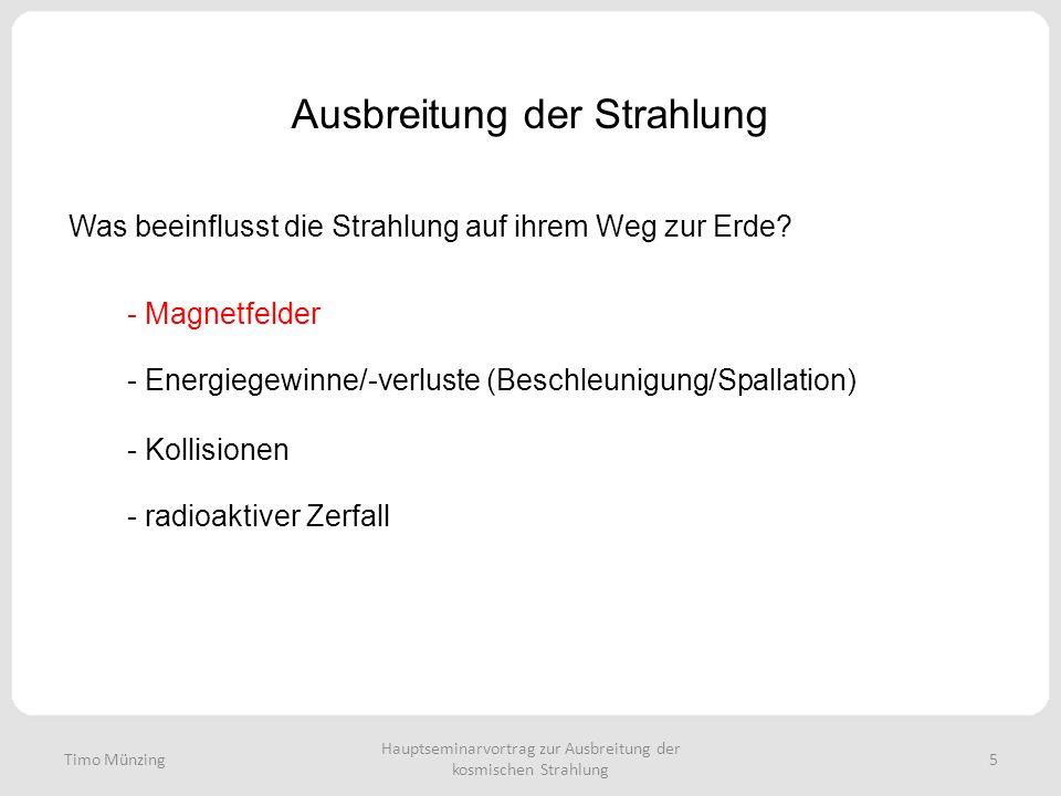 Ausbreitung der Strahlung Was beeinflusst die Strahlung auf ihrem Weg zur Erde? Hauptseminarvortrag zur Ausbreitung der kosmischen Strahlung 5 - Magne