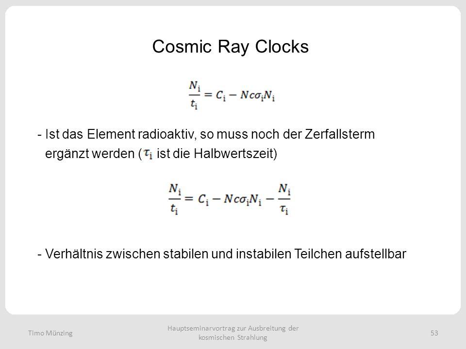 Hauptseminarvortrag zur Ausbreitung der kosmischen Strahlung 53 Cosmic Ray Clocks Timo Münzing - Ist das Element radioaktiv, so muss noch der Zerfallsterm ergänzt werden ( ist die Halbwertszeit) - Verhältnis zwischen stabilen und instabilen Teilchen aufstellbar
