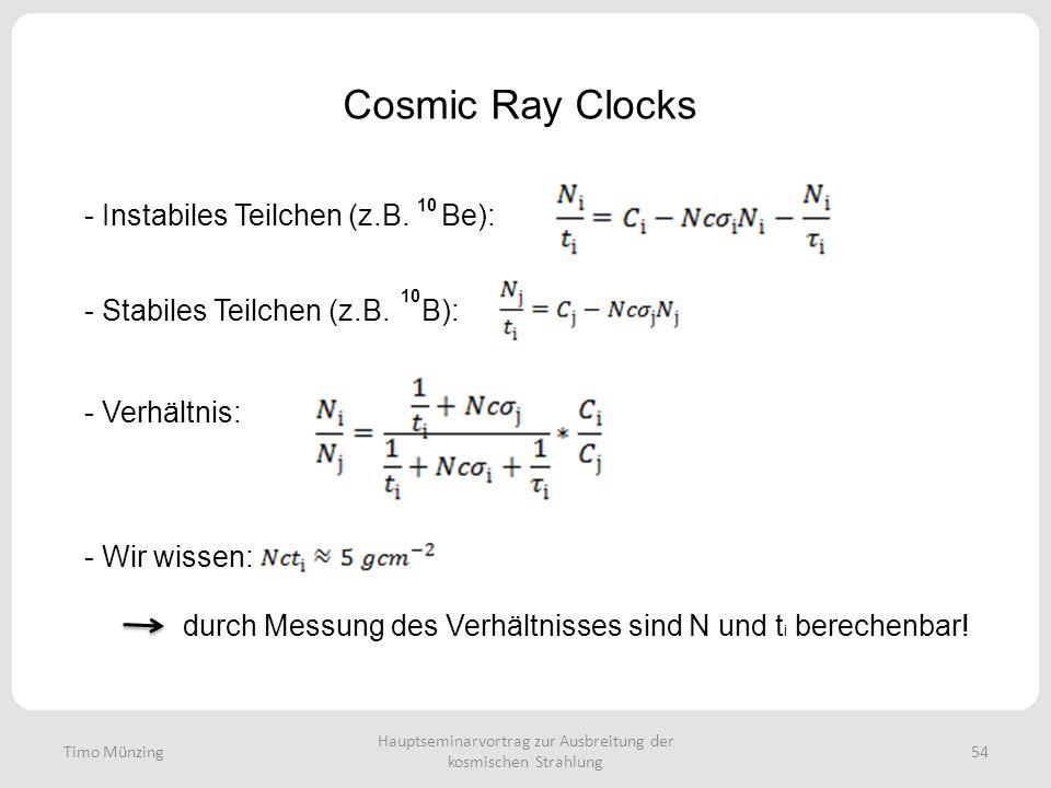 Hauptseminarvortrag zur Ausbreitung der kosmischen Strahlung 54 Cosmic Ray Clocks Timo Münzing - Instabiles Teilchen (z.B. Be): - Stabiles Teilchen (z