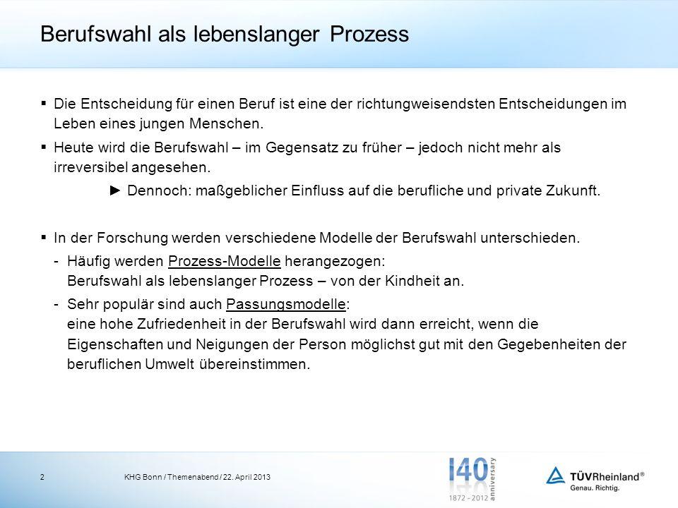 Einflussfaktoren auf die Berufswahl Zahlreiche Studien belegen: Berufswahl ist abhängig von endogenen und exogenen Faktoren KHG Bonn / Themenabend / 22.