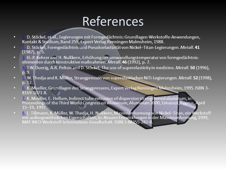 References 1. D. Stöckel, et al., Legierungen mit Formgedächtnis: Grundlagen-Werkstoffe-Anwendungen, Kontakt & Studium, Band 259, Expert Verlag Rennin