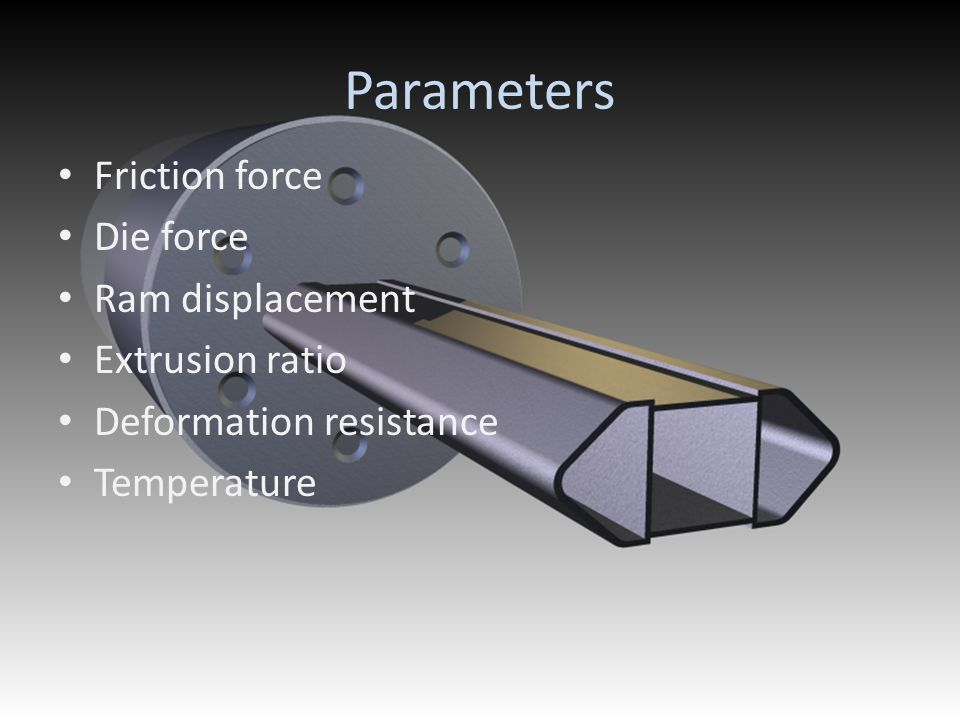 Parameters Friction force Die force Ram displacement Extrusion ratio Deformation resistance Temperature
