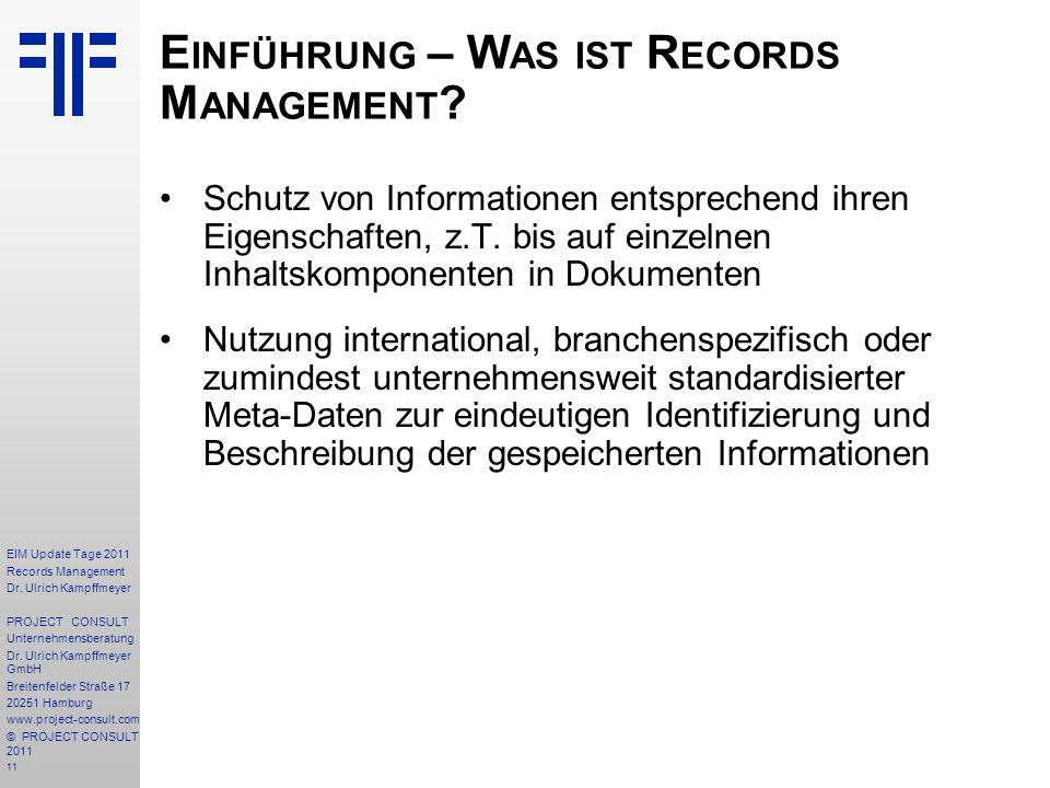 11 EIM Update Tage 2011 Records Management Dr.