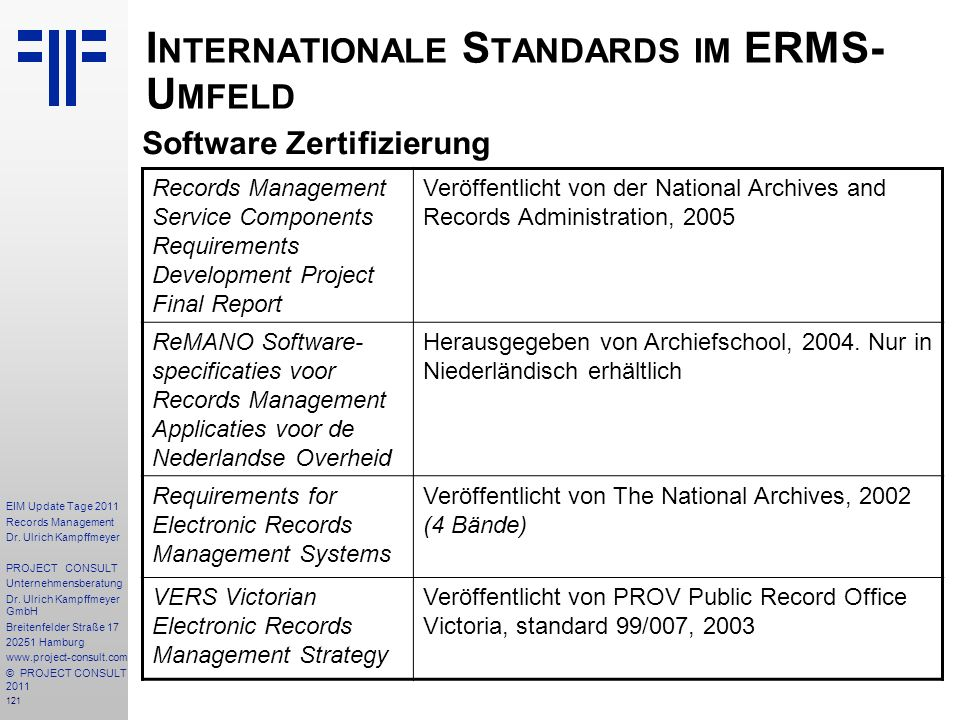 121 EIM Update Tage 2011 Records Management Dr.