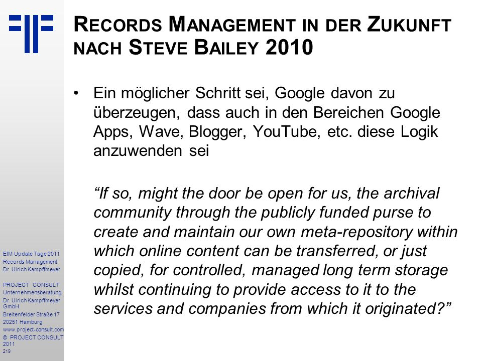 219 EIM Update Tage 2011 Records Management Dr.