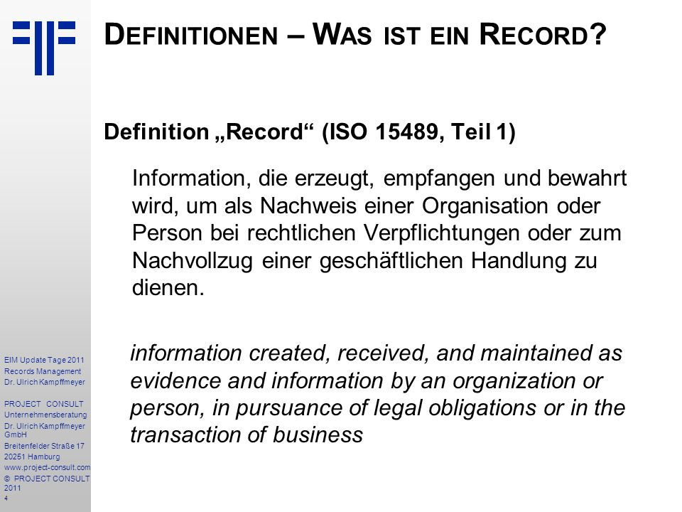 85 EIM Update Tage 2011 Records Management Dr.