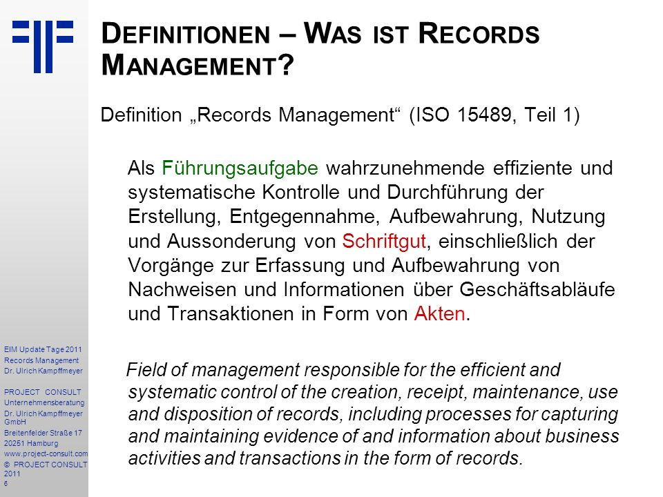 207 EIM Update Tage 2011 Records Management Dr.